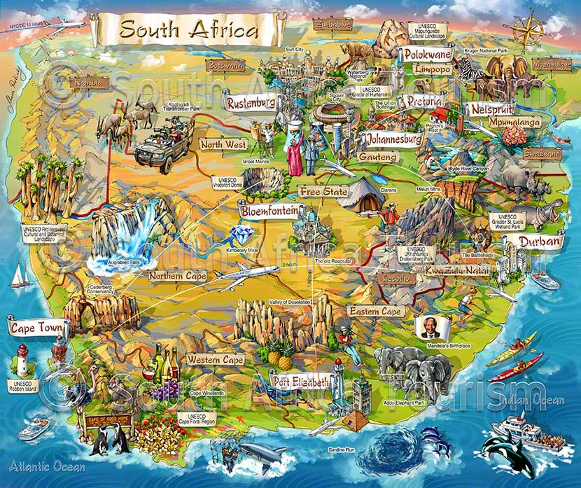 South Africa Illustrated Map by Maria Rabinky