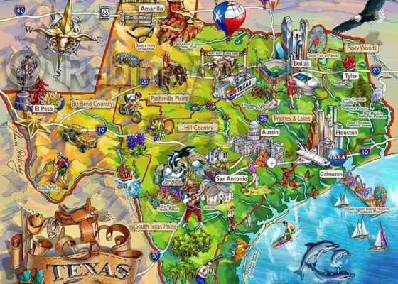 Texas Illustrated Map by Maria Rabinky