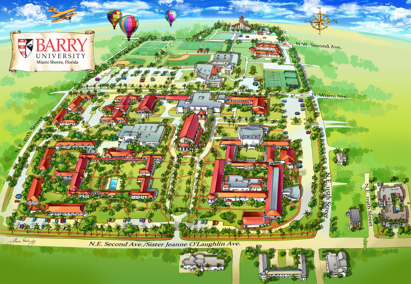 Barry University Campus Map Illustration by Maria Rabinky