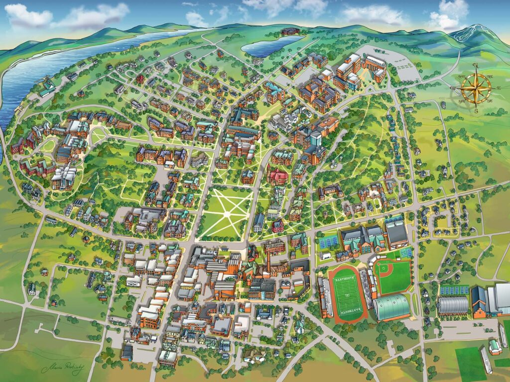 Dartmouth College Campus Map Illustration by Maria Rabinky