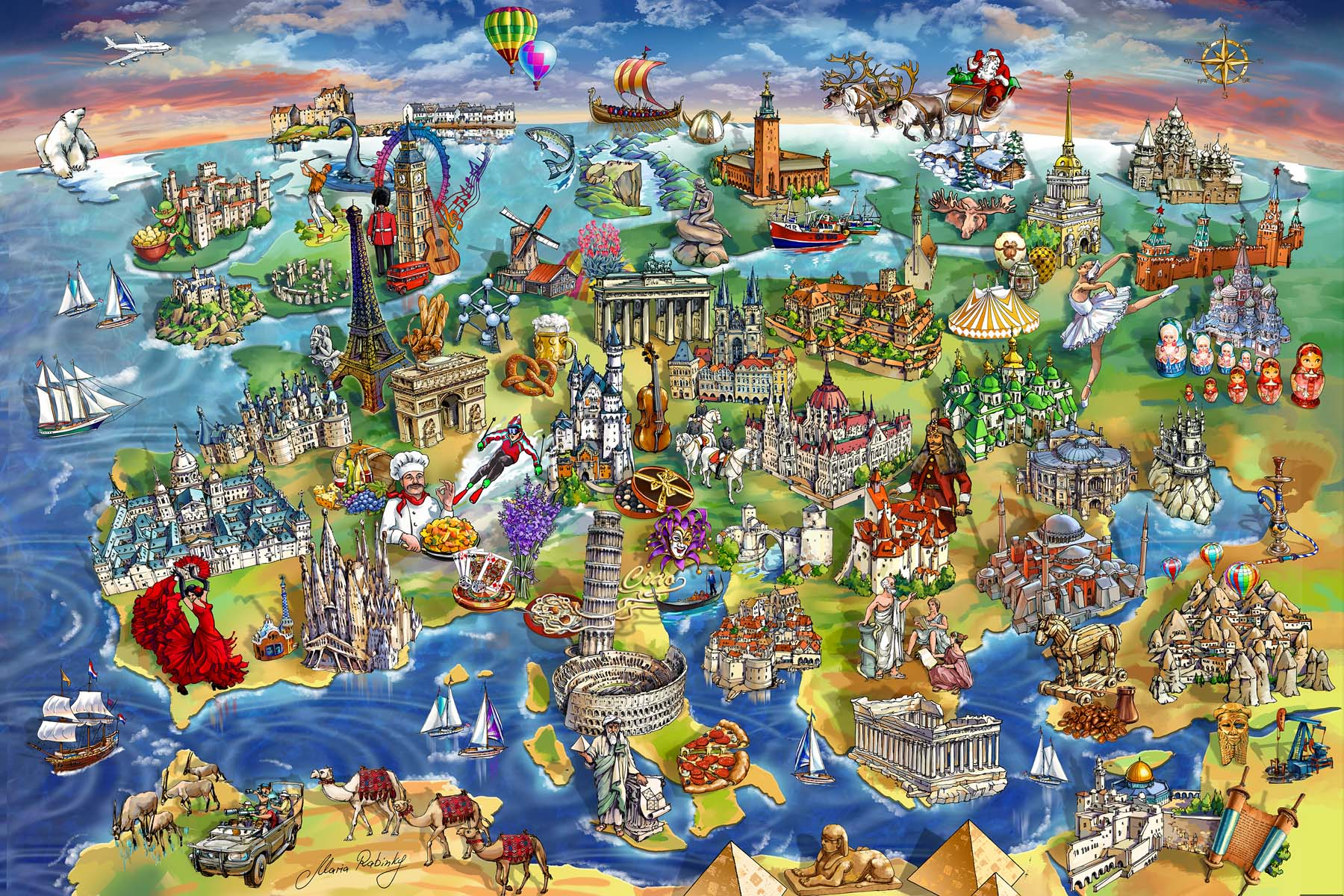 European World Wonders Map Illustration by Maria Rabinky