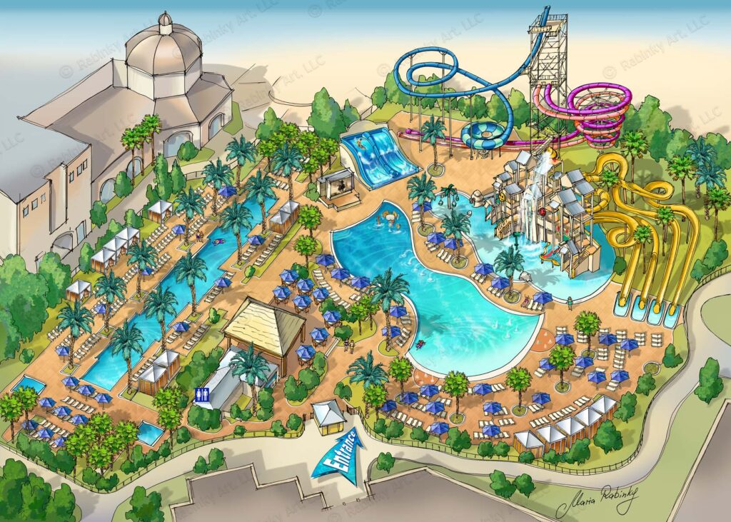 Gaylord Palms Resort Illustrated Map by Maria Rabinky