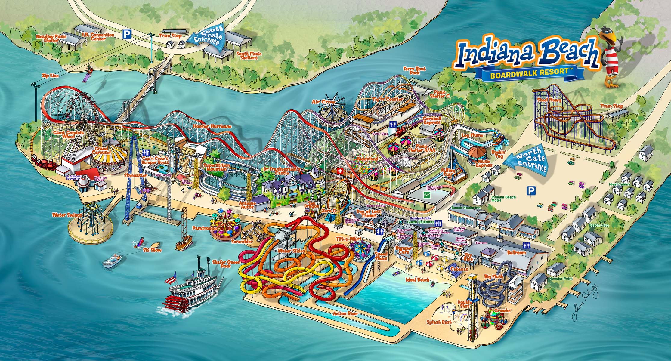 Indiana Beach Amusement Resort Map Illustration Map Illustration by Maria Rabinky
