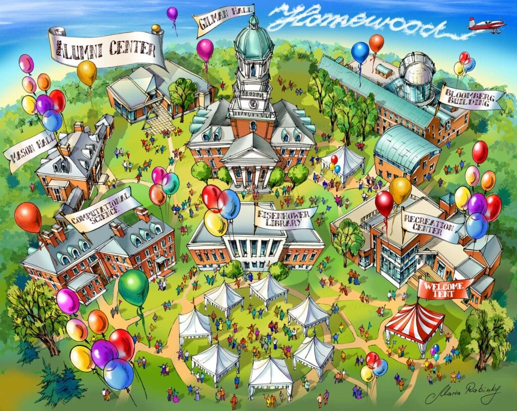 JHU Homewood campus Map Illustration by Maria Rabinky