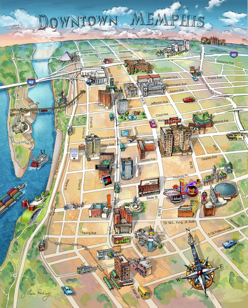Memphis Downtown Map Illustration by Maria Rabinky