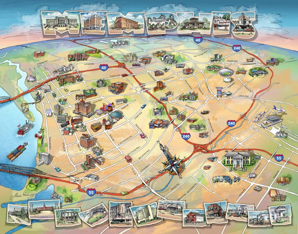 Elvis's Memphis Map Illustration by Maria Rabinky