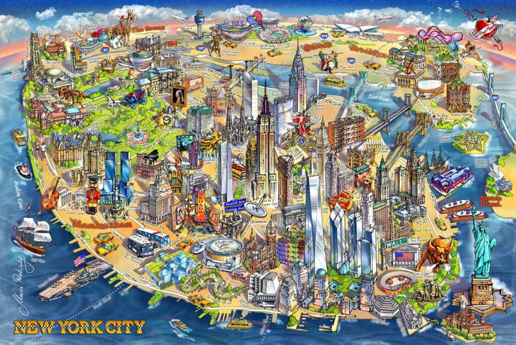 New York City Map Illustration by Maria Rabinky