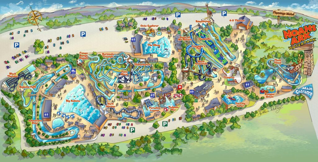 Noahs Ark Amusement Park Map Illustration by Maria Rabinky