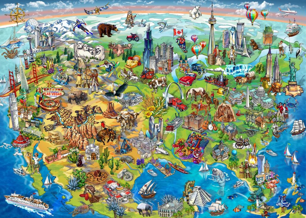 North America Wonders Map Illustration by Maria Rabinky