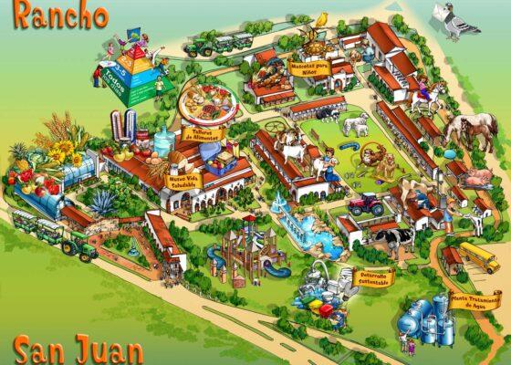 Rancho San Juan Amusement Park Map Illustration by Maria Rabinky