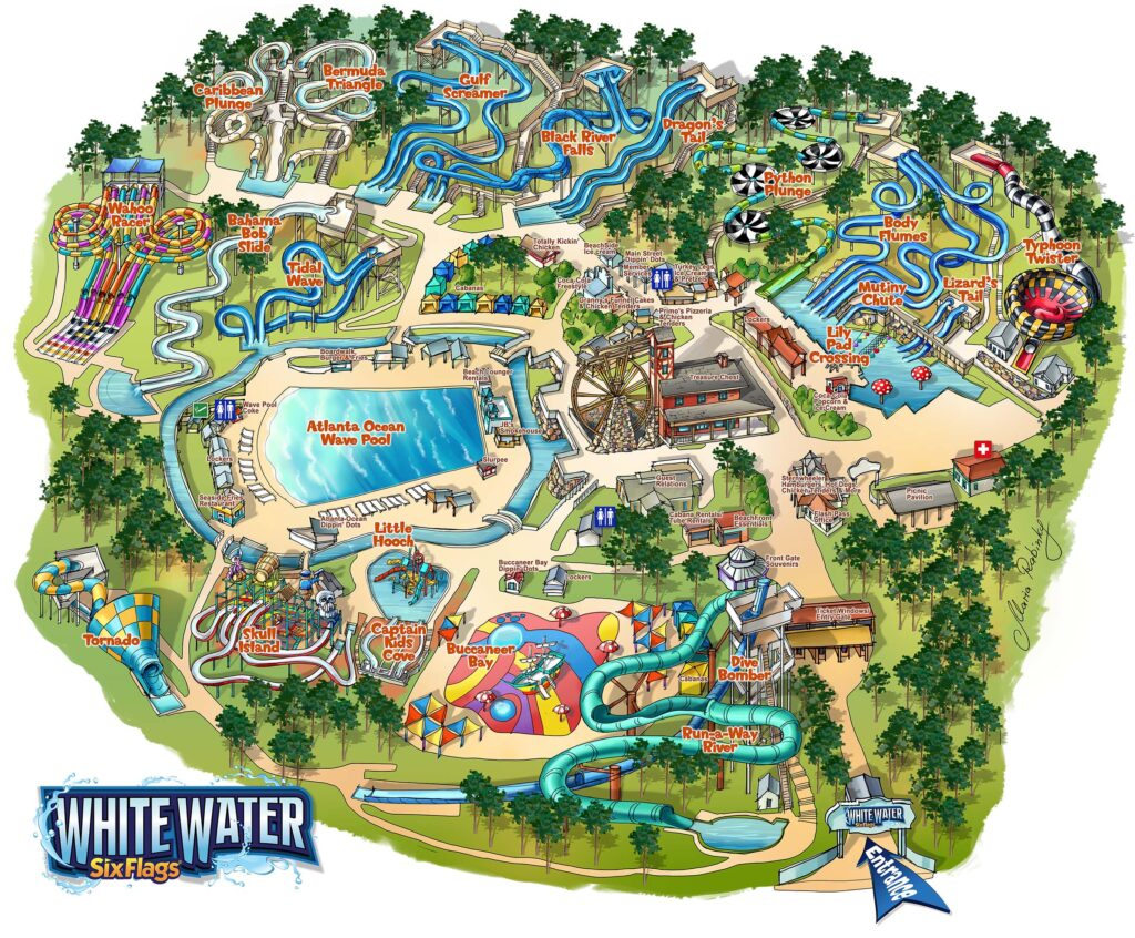 Six Flags White Water Park Map Illustration by Maria Rabinky