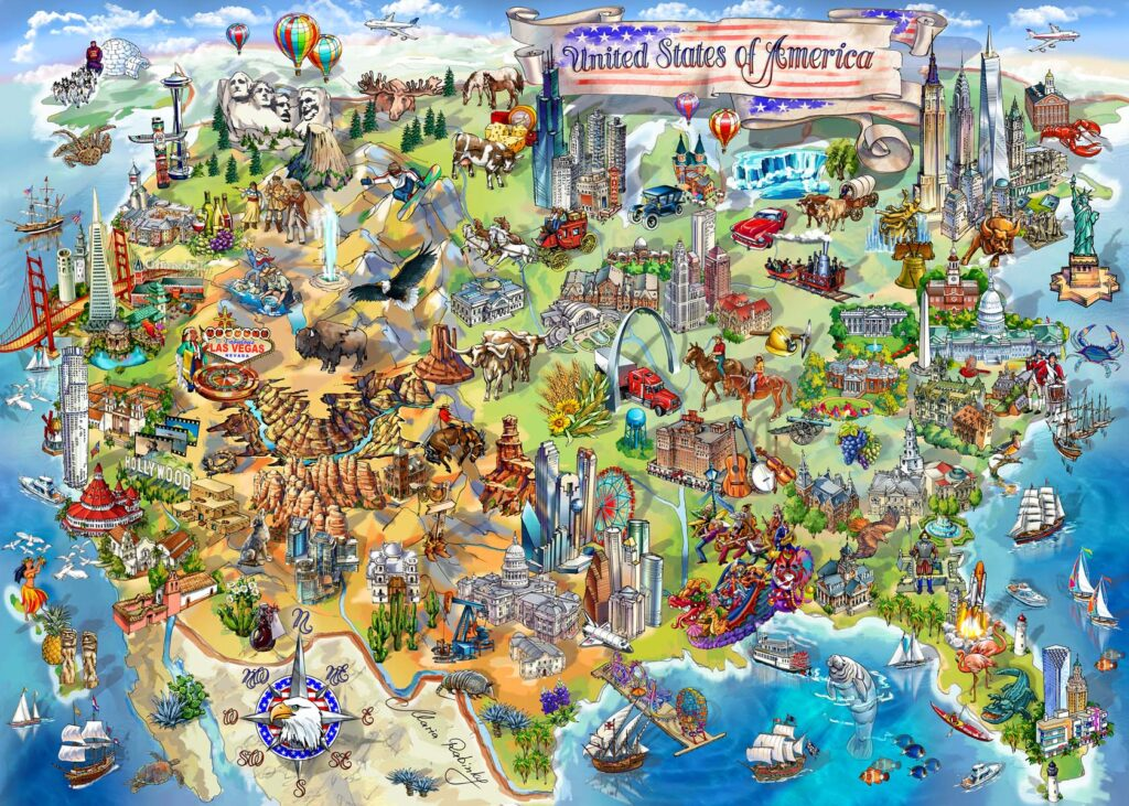 USA Wonders Map Illustration by Maria Rabinky
