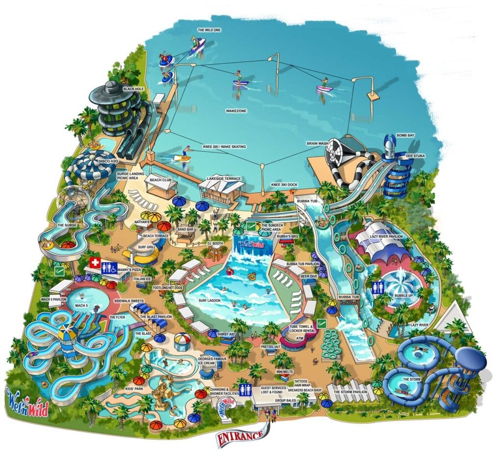 Wet'n Wild Amusement Park Map Illustration by Maria Rabinky