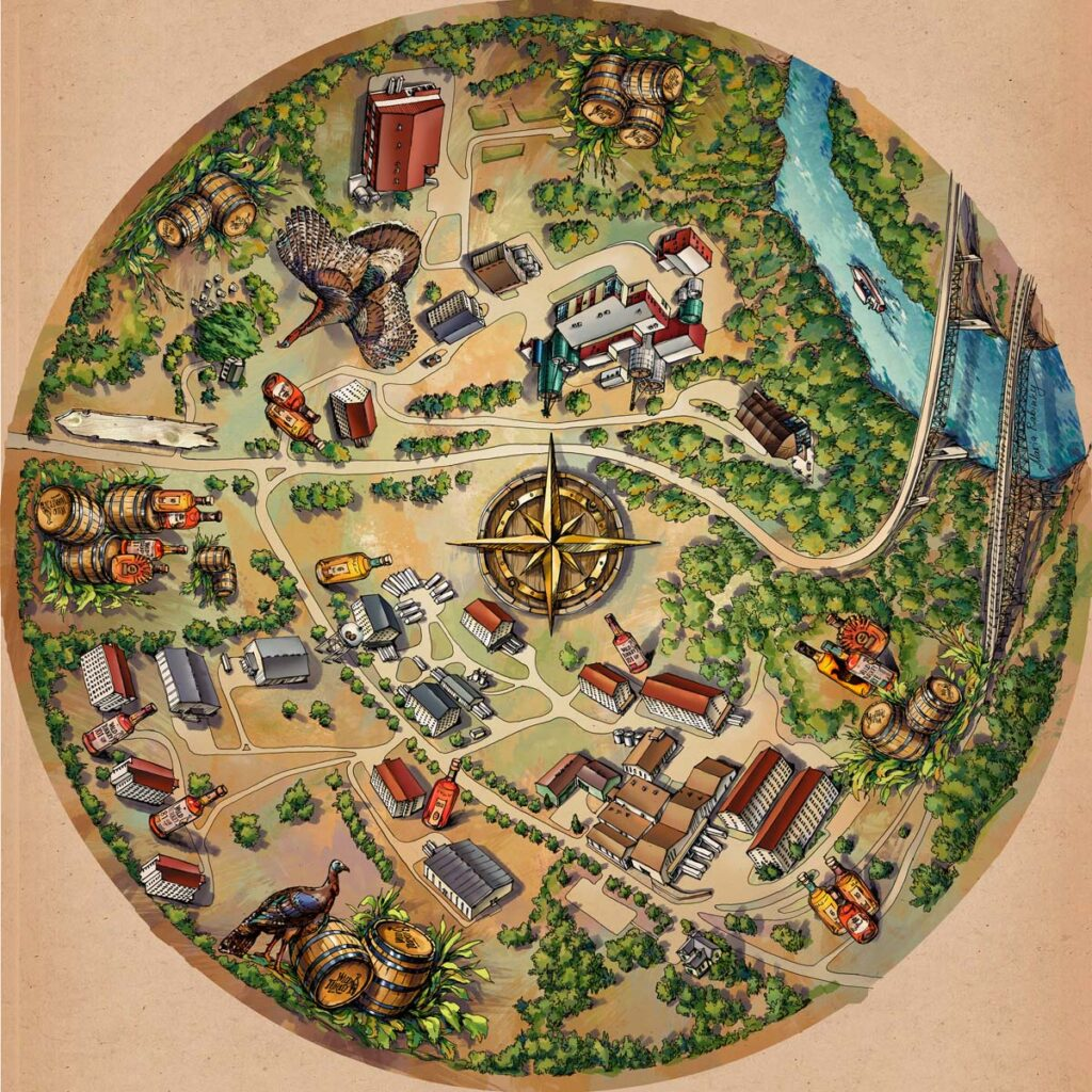 Wild Turkey Distilleries Map Illustration by Maria Rabinky