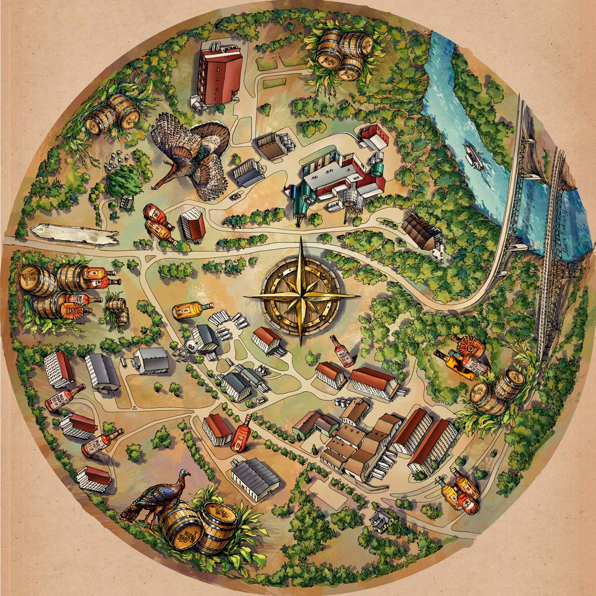 Wild Turkey Distilleries Map Illustration by Maria Rabinky