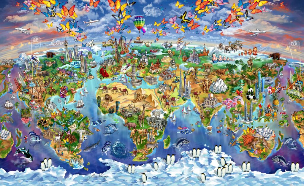 World Wonders Map Illustration by Maria Rabinky