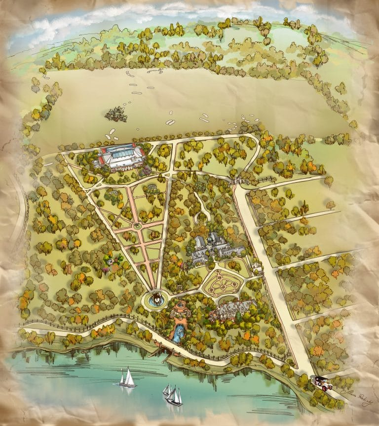 Pictorial Campus Map Illustration